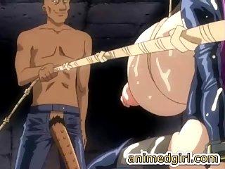 Verkettete Shemale Hentai Zofe mit super riesigen Brüsten Blowjob