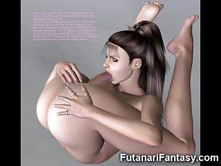 3D Futanari Mädchen mit großen Schwänzen