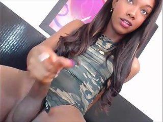 Verspieltes schwarzes Transgirl